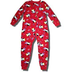 3ffdcf033f Girls Red Penguins Union Suit Sleeper Pajamas (XS 4 5) Blanket
