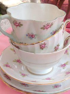 Rose chintz teacups  Tea Cozie Cottage blog
