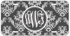 Personalized Monogrammed Damask White Black License Plate Custom Car Tag L497