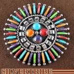 Multicolor And Sterling Silver Pin Pendant