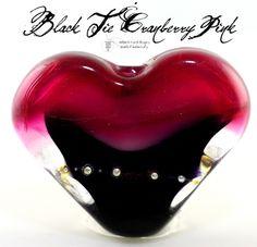 Black Tie Cranberry Heart Lampwork Bead  ** love **