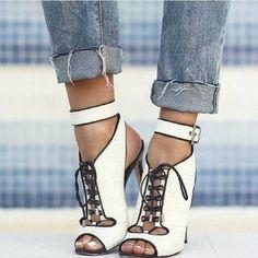 Shoespie White Lace-up Cut-out Dress Sandals