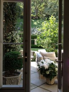 french doors to outdoor seating area Outdoor Seating, Outdoor Rooms, Outdoor Gardens, Outdoor Living, Outdoor Decor, Garden Seating, Outdoor Sofa, Exterior Design, Interior And Exterior