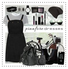 """""""Grunge Pinafore"""" by alltimegabi ❤ liked on Polyvore featuring WallPops, Fendi, T By Alexander Wang, Boohoo, Dr. Martens, Fujifilm, Revo, Kat Von D, NYX and New Look"""