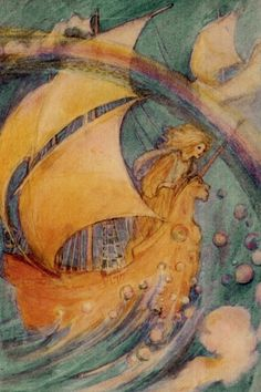 image: Afloat Upon a Unicorn Boat–Florence Harrison 1912  Dreams and fripperies and other items are on hold until I reach the end of my journey.  Be back on October 1st or thereabouts!