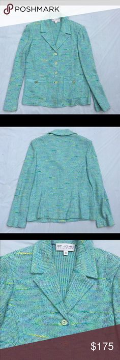 """St. John Collection tweed knit sweater blazer 10 Beautiful and authentic knit sweater blazer. Buttons are enameled and labeled with """"St. John"""", pockets have satin trim. Approx 38"""" bust, 23"""" length. Super excellent pre-loved condition! ✅offers❌trades/PP 💰bundles save 20% off 2+ St. John Jackets & Coats Blazers"""
