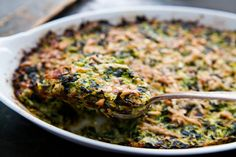Zucchini and Spinach Gratin ~ Grated zucchini and chopped blanched spinach, mixed with onions sautéed with bacon, parsley, and garlic, bound with eggs, topped with grated Parmesan, and baked. ~ SimplyRecipes.com