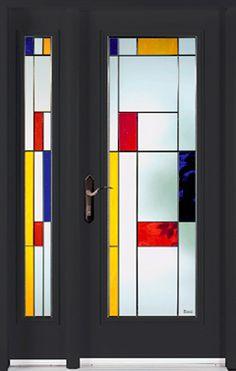 porte vitrail en version Mondrian