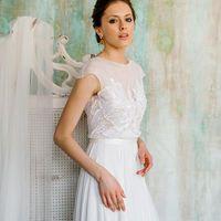Long Chiffon Applique Wedding Dress, V-Back Beach Wedding Dress, A-Line Wedding Dress, 170768 - Thumbnail 2