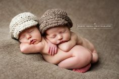 Twin baby newsboy visor caps for newborn photos --- oatmeal and barley colors. $32.00, via Etsy.
