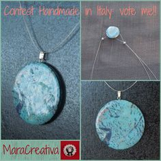 Contest Handmade in Italy. Pendente in pasta polimerica finto Turchese. Polymer clay faux turquoise pendant. www.facebook.com/handmadeinitaly