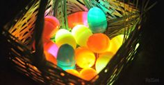 Use inexpensive tea lights inside plastic eggs for a fun Glow in the Dark Easter Egg Hunt kids activity this year!