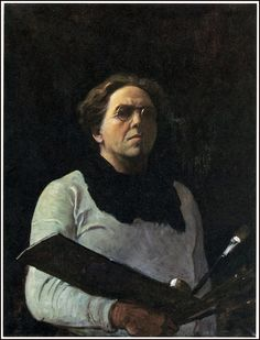 """""""Self Portrait with Palette"""" 1909 by N.C. Wyeth -  N.C. (Newell Convers) Wyeth [American Golden Age Illustrator, 1882-1945]  -  Patriarch of three generations of Wyeth-Hurd artists, including son Andrew Wyeth and grandson Jamie Wyeth  -  Oil on canvas"""
