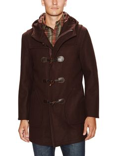 Wool Hooded Coat with Leather Trim