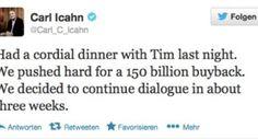 Investor Icahn fordert Apple Aktienrückkaufprogramm in Höhe von 150 Milliarden Dollar