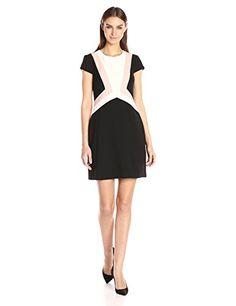 Women's Crepe Colorblock Shift Dress