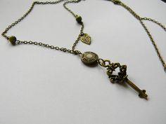 """""""Key"""" Necklace from Niaca Jewelry Key Necklace, Arrow Necklace, Jewelry, Jewellery Making, Jewelery, Jewlery, Jewels, Jewerly, Skeleton Key Necklace"""