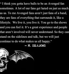 NOTHING HAS EVER BEEN TRUER THAN THIS STATEMENT. Definitely my favorite avenged sevenfold quote <3 we take a lot of shit