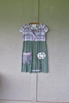 medium upcycled summer tunic dress Artsy Bohemian clothing Eco Romantic farm girl dress funky top Artsy dress by LillieNoraDryGoods