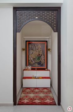 Modern Pooja Room Designs Made for Wall Niches Pooja Room Door Design, Home Room Design, Living Room Designs, House Design, New Ceiling Design, Bedroom False Ceiling Design, False Ceiling For Hall, Kitchen Ceiling Design, Drawing Room Design
