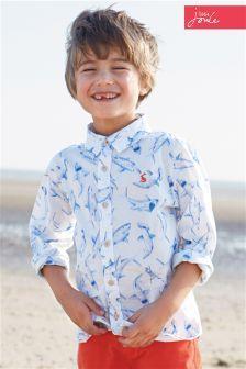 Cream Little Joule Bryce Shark Print Shirt