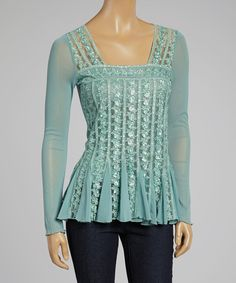 Love this Aqua Floral Semi-Sheer Embroidered Square Neck Top by Papillon Imports on #zulily! #zulilyfinds