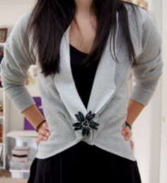 this is a embellished revise of the other DIY jacket from sweatshirt... way cute... with step by step instructions