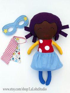 AFRO DOLL, black doll, ragdoll, superhero doll, fabric dolls, dolls, cloth dolls, handmade doll, african american doll, custom doll, softtoy  This