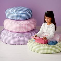 Kids' Bean Bags & Floor Cushions: Kids Green Gingham Stackable Floor Cushions in Floor Cushions