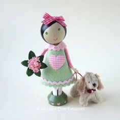 Pink/Green Clothespin Doll with Little Dog