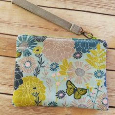 Floral and butterflies WristletClutch BagGrey by ditsybritishcraft