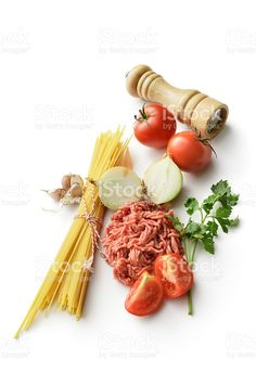 Italian Ingredients: Spaghetti, Minced Meat, Onion, Tomato, Garlic and Parsley royalty-free stock photo