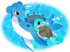 Lapras and Squirtle <3
