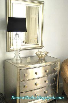 ReNew ReDo!: Bedroom Redo ~ The Other Side ~ Stainless Steel Look Metallic Painted Furniture, Metallic Spray Paint, Paint Furniture, Metal Furniture, Repurposed Furniture, Furniture Projects, Furniture Making, Furniture Makeover, Bedroom Furniture