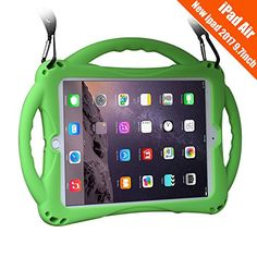 New iPad inch Case/iPad Air Case, TopEsct Shockproof Silicone Handle Stand Case Cover&(Tempered Glass Screen Protector) for Apple New iPad Version) and iPad Air(Green)