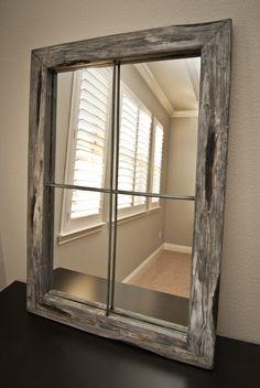 Mirror Rustic Distressed Faux Window - Small - Graywash.