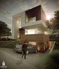 This modern residential design involves extensive usage of glass for the house's perimeter and a brightly lit staircase and interior to emphasize its 21st century predication.