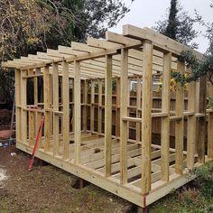 """""""The bones of latest wooden, bespoke workshop project. """"The bones of latest wooden, … Storage Shed Kits, Workshop Shed, Shed Base, Steel Siding, Man Shed, Modern Shed, Garden Workshops, Large Sheds, Building A Shed"""