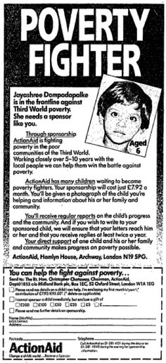 Old Ads: :ActionAid. 18 June, 1987