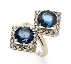 H.Stern Joias - Anel de Ouro Nobre 18K com topázios azuis e diamantes cognac - Coleção Jogo de Cartas