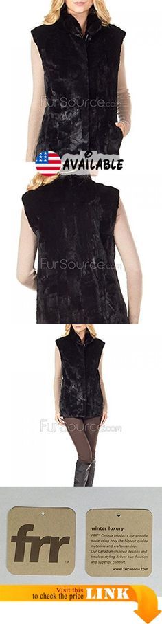 B07791R4CV : Frr Black Scalloped Reversible Taffeta Mink Fur Vest - Large. Genuine Sheared and Plucked Mink Fur - exceptionally soft and silky. Reversible to Taffeta. Sheared Mink side includes 1 button closure at neck 3 hidden hook and eyes and side entry pockets. Taffeta side includes side entry pockets and 4 button closure. Center back length: 27 in.