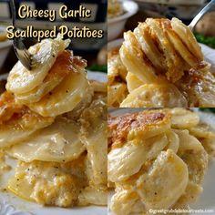 Cheesy Garlic Scalloped Potatoes - So creamy, cheesy and delicious. The best scalloped potatoes EVER! Cheesy Garlic Scalloped Potatoes - So creamy, cheesy and delicious. The best scalloped potatoes EVER! Russet Potato Recipes, Potato Side Dishes, Vegetable Dishes, Rice Dishes, Vegetable Recipes, Main Dishes, Best Scalloped Potatoes, Scalloped Potato Recipes, Sliced Potatoes
