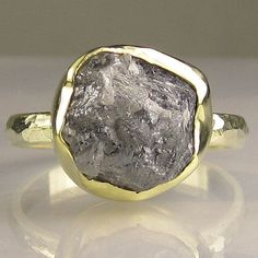 Huge, gorgeous, natural, uncut, raw, conflict free rough diamond set in 18k gold bezel on hammered 14k gold band