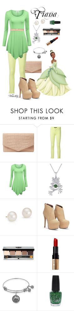 """Tiana from ""The Princess and the Frog"""" by le-piano-argent ❤ liked on Polyvore featuring Emily Cho, Disney, J Brand, Blue Nile, Bobbi Brown Cosmetics, OPI and Marni"