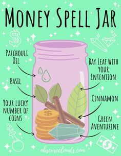A Spell Jar for wealth, prosperity and abundance! Plus advice on spellcasting for beginner witches 😊 #witch #witchcraft #spells #spellcaster #moneyspells #wealth #beginnerwitch #wicca #wiccanspells #magick #magickal #witchythings #paganwitch #paganism Witch Spell Book, Witchcraft Spell Books, Green Witchcraft, Jar Spells, Magick Spells, Wiccan Spells Money, Voodoo Spells, Healing Spells, Wiccan Magic