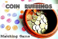 Art and Math Activities : Coin Rubbings With a few coins and colored pencils create this fun art-math combo activity. This is one of those indoor kids activities that is set-up free and mess-free and Bible For Kids, Math For Kids, Fun Math, Maths, Teaching Money, Teaching Math, Teaching Ideas, Montessori Math, Homeschool Math