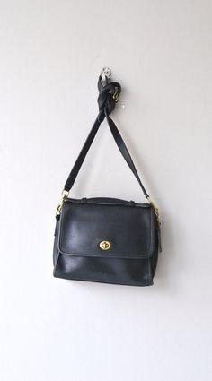 Coach Court saddle bag vintage black leather Coach by DearGolden