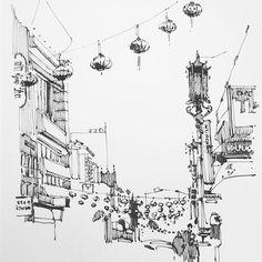#chinatown #sf #sketch in progress 02... #drawing #draw #art #architecture #urbansketch #streetview #ink #moleskine #lamysafari #bnw #illustration