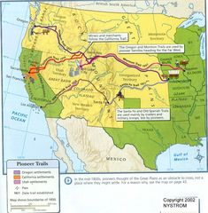 This Map Shows The Routes Of The Pioneer Trails By Which The American West Was Settled