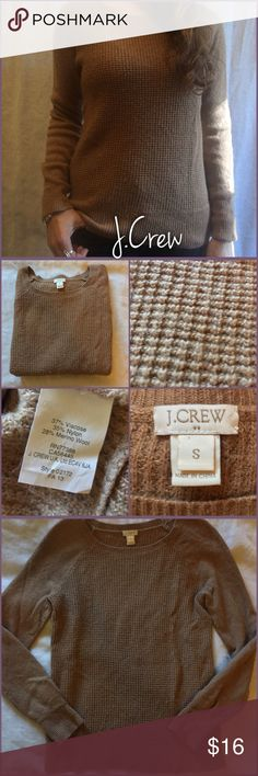 """J.Crew Knit Sweater Size small, brown/tan knit sweater from J.Crew in good used condition, with some pilling throughout. It can be """"shaved"""" - I just don't have a de-piller! Ask any and all questions before purchasing please! 😊 J. Crew Sweaters Crew & Scoop Necks"""